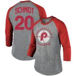 Mike Schmidt Philadelphia Phillies Majestic Threads Cooperstown Collection Name & Number Tri-Blend 3/4-Sleeve T-Shirt - Gray/Red