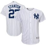 Majestic Giancarlo Stanton New York Yankees Toddler White/Navy Home Official Cool Base Player Jersey