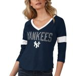 Touch by Alyssa Milano New York Yankees Women's Navy Ultimate Fan 3/4-Sleeve Raglan V-Neck T-Shirt