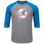 Majestic New York Yankees Heathered Gray/Light Blue Big & Tall Cooperstown Collection 3/4-Sleeve Raglan T-Shirt