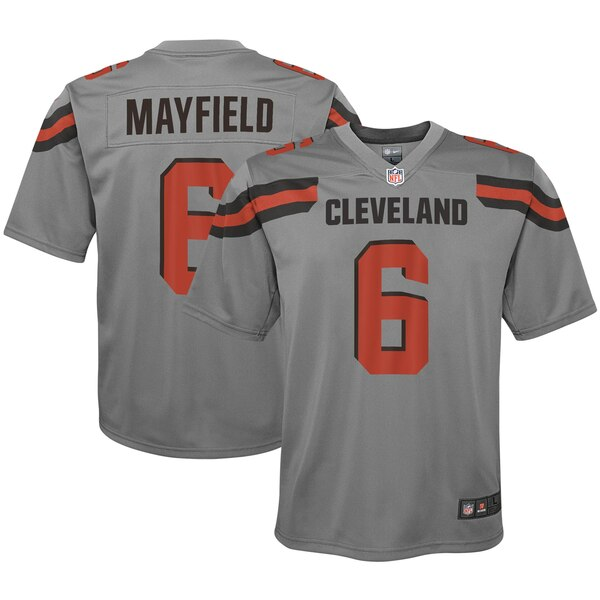 brand new 61240 87641 Nike Baker Mayfield Cleveland Browns Youth Gray Inverted Game Jersey