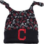 New Era Cleveland Indians Newborn Navy Pattern Dub Knit Hat