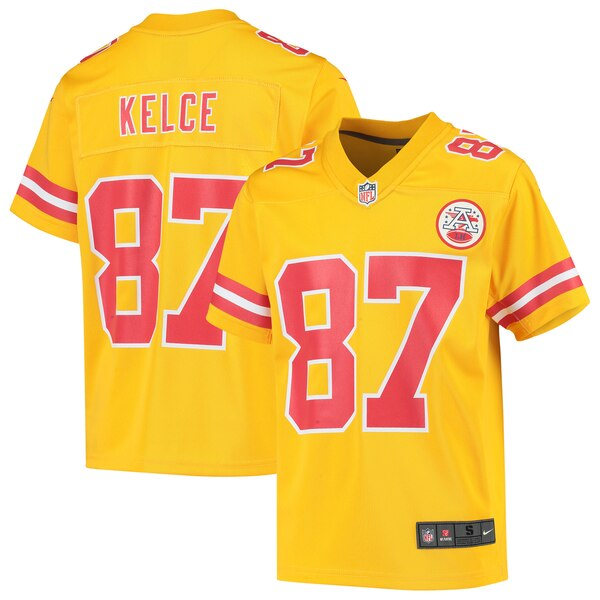 on sale 546dd 9c879 Nike Travis Kelce Kansas City Chiefs Youth Yellow Inverted Game Jersey