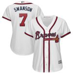 Majestic Dansby Swanson Atlanta Braves Women's White 2019 Home Cool Base Player Jersey