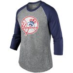 Majestic Threads New York Yankees Heathered Gray/Navy Current Logo Tri-Blend 3/4-Sleeve Raglan T-Shirt