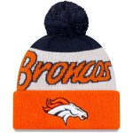 New Era Denver Broncos Youth White/Orange Script Cuffed Knit Hat with Pom