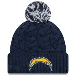 New Era Los Angeles Chargers Women's Navy Cozy Cable Cuffed Knit Hat