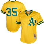 Mitchell & Ness Rickey Henderson Oakland Athletics Yellow Cooperstown Mesh Batting Practice Jersey