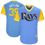 """Majestic Kevin Kiermaier """"Outlaw"""" Tampa Bay Rays Light Blue/Yellow 2017 Little League World Series Authentic Players Weekend Classic Jersey"""