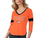 Touch by Alyssa Milano Denver Broncos Women's Orange Ultimate Fan 3/4-Sleeve Raglan V-Neck T-Shirt