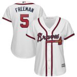 Majestic Freddie Freeman Atlanta Braves Women's White 2019 Home Cool Base Player Jersey