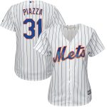 Majestic Mike Piazza New York Mets Women's White/Royal Home Cool Base Player Jersey