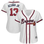 Majestic Ronald Acuña Jr. Atlanta Braves Women's White 2019 Home Cool Base Player Jersey