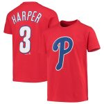 Majestic Bryce Harper Philadelphia Phillies Youth Red Player Cap Logo Name & Number T-Shirt