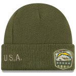 New Era Los Angeles Chargers Youth Olive 2019 Salute to Service Sideline Cuffed Knit Hat