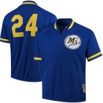 Mitchell & Ness Ken Griffey Jr. Seattle Mariners Royal Cooperstown Collection Mesh Batting Practice Quarter-Zip Jersey