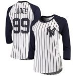 Majestic Threads Aaron Judge New York Yankees Women's White Pinstripe 3/4-Sleeve Raglan Player Name & Number T-Shirt