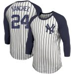 Majestic Threads Gary Sanchez New York Yankees White Pinstripe 3/4-Sleeve Raglan Name & Number T-Shirt