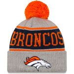 New Era Denver Broncos Gray Stripe Cuffed Knit Hat with Pom