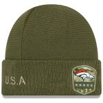 New Era Denver Broncos Youth Olive 2019 Salute to Service Sideline Cuffed Knit Hat