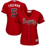 Majestic Freddie Freeman Atlanta Braves Women's Scarlet 2019 Alternate Cool Base Player Jersey