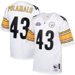 Mitchell & Ness Troy Polamalu Pittsburgh Steelers White 2005 Authentic Throwback Retired Player Jersey