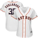 Majestic Justin Verlander Houston Astros Women's White 2019 World Series Bound Official Cool Base Player Jersey