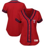 Majestic Texas Rangers Women's Red/Royal Plus Size Absolute Victory Fashion Jersey
