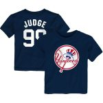 Majestic Aaron Judge New York Yankees Toddler Navy Player Cap Logo Name & Number T-Shirt