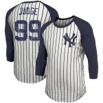 Majestic Threads Aaron Judge New York Yankees White Pinstripe 3/4-Sleeve Raglan Name & Number T-Shirt