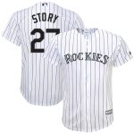 Majestic Trevor Story Colorado Rockies Youth White Home Replica Player Jersey