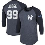 Majestic Threads Aaron Judge New York Yankees Navy 2019 Postseason Tri-Blend 3/4-Sleeve Raglan Name & Number T-Shirt