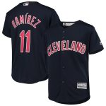Majestic Jose Ramirez Cleveland Indians Youth Navy Alternate Official Cool Base Player Jersey