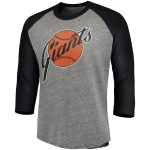 Majestic Threads San Francisco Giants Heathered Gray/Black Cooperstown Collection 3/4-Sleeve Raglan Tri-Blend T-Shirt