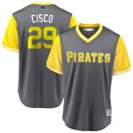 "Majestic Francisco Cervelli ""Cisco"" Pittsburgh Pirates Gray/Yellow 2018 Players' Weekend Cool Base Jersey"
