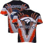 Majestic Denver Broncos Navy V Tie-Dye T-Shirt