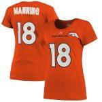 Majestic Peyton Manning Denver Broncos Women's Orange Fair Catch V Name & Number T-Shirt