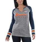 Majestic Denver Broncos Women's Heathered Gray/Heathered Navy Lead Play Long Sleeve V-Notch T-Shirt
