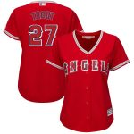 Majestic Mike Trout Los Angeles Angels Women's Scarlet Plus Size Alternate Cool Base Player Jersey