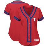 Majestic Texas Rangers Women's Red/Royal Fashion Absolute Victory Cool Base Team Jersey