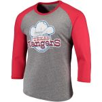 Majestic Threads Texas Rangers Heathered Gray/Red Cooperstown Collection 3/4-Sleeve Raglan Tri-Blend T-Shirt