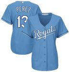 Majestic Salvador Perez Kansas City Royals Women's Light Blue Alternate Cool Base Player Jersey
