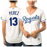 Majestic Salvador Perez Kansas City Royals Women's White Cool Base Player Jersey