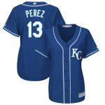 Majestic Salvador Perez Kansas City Royals Women's Royal Plus Size Alternate Cool Base Player Jersey