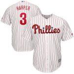 Majestic Bryce Harper Philadelphia Phillies White/Scarlet Big & Tall Cool Base Replica Player Jersey