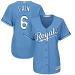 Majestic Lorenzo Cain Kansas City Royals Women's Light Blue Alternate Cool Base Player Jersey