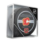 Fanatics Authentic Mike Vernon Calgary Flames Unsigned InGlasCo February 6, 2007 Jersey Retirement Night Official Game Puck