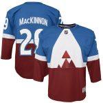 Nathan MacKinnon Colorado Avalanche Youth Blue/Burgundy 2020 Stadium Series Premier Player Jersey