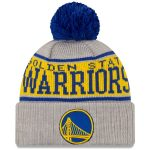 New Era Golden State Warriors Gray Stripe Cuffed Knit Hat with Pom