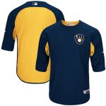 Majestic Milwaukee Brewers Navy/Yellow Authentic Collection On-Field 3/4-Sleeve Batting Practice Jersey